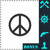 Hippie Peace Icon Flat. Simple Vector Symbol And Bonus Icon poster
