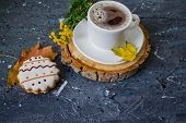 Hot Coffee Cup. Strong Coffee On Wooden Table Background. Fresh Coffee. Latte Coffee. Morning Coffee poster