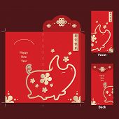 Chinese New Year 2019 Money Red Envelopes Packet, Year Of The Pig 2019, Pig Zodiac Sign And Plum On  poster