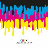 Dripping Ink Cmyk Stain. Liquid Ink, Paint Drip. Vector Illustration. poster