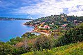 Saint Tropez Luxurious Coastline And Green Landscape View, Famous Tourist Destination On French Rivi poster