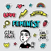 Feminist Sticker Set. Feminist Cute Hand Drawing Illustration For Print, Brochure, Greeting Card, Ba poster