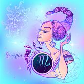 Zodiac Sign Scorpio A Beautiful Girl. Horoscope. Astrology. Vector. poster