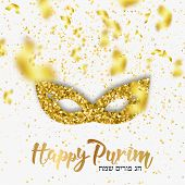 Happy Purim, Jewish Celebration Party Background (happy Purim In Hebrew). Carnival Purim Mask Made O poster
