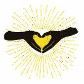 Black Hands Shaping Yellow Heart Handdrawn Color Illustration poster