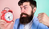Time To Work. Man Bearded Aggressive Businessman Hold Clock. Stress Concept. Hipster Stressful Worki poster