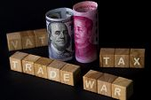 Vat Tax And Trade War Wording On Wooden Cubes With Us Dollar Yuan Banknote On Black Background.trade poster