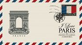 Vector Envelope Or Postcard In Retro Style With Triumphal Arch, Postmark In Form Of French Coat Of A poster