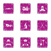Private Affair Icons Set. Grunge Set Of 9 Private Affair Icons For Web Isolated On White Background poster