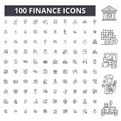 Finance Editable Line Icons, 100 Vector Set, Collection. Finance Black Outline Illustrations, Signs, poster