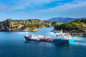 Norwegian Landscape With Blue Fjord Water, Tanker And Colorful Houses, Norway poster