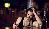 Drinking Alcohol May Help Him Relax. Alcohol Addict With Short Alcohol Drink. Alcoholic Man Drinking poster