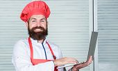 Man Chef Searching Online Ingredients Cooking Food. Grocery Shop Online. Delivery Service. Chef Lapt poster