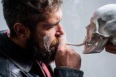 Harmful Habits. Smoking Is Harmful. Habit To Smoke Tobacco Bring Harm To Your Body. Smoking Cause He poster
