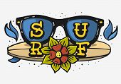 Surf Surfing Themed Vintage Traditional Tattoo Influenced Aesthetic Graphics For Tee Print T Shirt V poster