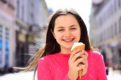 Enjoying Frozen Food Snack Or Dessert. Cute Girl Smiling With Ice Cream. Pretty Girl Hold Ice Cream  poster