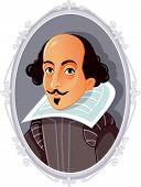 Author William Shakespeare Vector Portrait Caricature Illustration poster