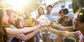 Friends Group Toasting Red Wine And Having Fun Outdoor Cheering At Bbq Picnic - Young People Enjoyin poster