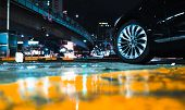 Abstract Night City Background With Car Wheel On Wet Urban Road poster