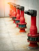 Fire Safety Pump On Cement Floor Of Concrete Building. Deluge System Of Firefighting System. Plumbin poster
