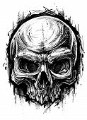 Detailed Graphic Hand Drawn Realistic Black And White Angry Human Skull. Trash Polka Style. On White poster