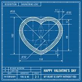 Heart Sign As Technical Blueprint Drawing. Valentines Day Technical Concept. Mechanical Engineering  poster