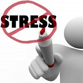 A person draws a circle and slash over the word Stress to symbolize the reduction or elimination of