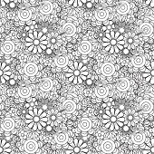 Monochrome Floral Background. Hand Drawn Decorative Flowers. Perfect For Wallpaper, Adult Coloring B poster