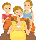 Illustration of Kids Giving Their Mom a Blanket