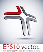 Vector illustration of 3D cross abstract business logo.