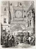 Gros Horloge (große Uhr) während der Stadt fest alte Abbildung, Rouen, Frankreich. erstellt von Würmern, Publius