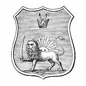das alte Wappen von Persien. Stich von Alwin Zschiesche veröffentlicht am