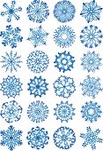 24 beautiful cold crystal gradient snowflakes. Vector version of this image (