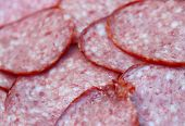 Close-up salami to background