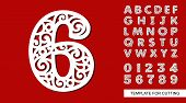 Number Six - 6. Full English Alphabet And Digits 0, 1, 2, 3, 4, 5, 6, 7, 8, 9. Lace Letters And Numb poster