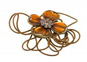 Vintage brown pendant, coulomb flower isolated on white background