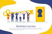 Business Success Key Landing Page Template. Cooperation And Teamwork Is Secret For Motivation Work S poster