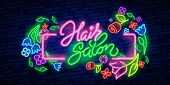 Hair Salon Neon Sign Vector. Hairdress Design Template Neon Sign, Light Banner, Neon Signboard, Nigh poster