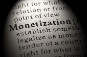 Fake Dictionary, Dictionary Definition Of The Word Monetization. Including Key Descriptive Words. poster