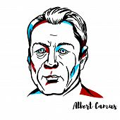 Albert Camus Engraved Vector Portrait With Ink Contours. French Philosopher, Author, And Journalist. poster