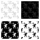 Cute Cartoon Frog In Love Pattern Collection With Hand Drawn Frog. Sweet Vector Black And White Frog poster