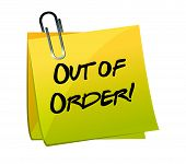 Out of order yellow sticky illustration design