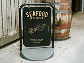 Authentic seafood restaurant board mockup poster