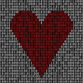 Binary Code Heart. Love Technology. Modern Love. Love Code. Vector Illustration. poster