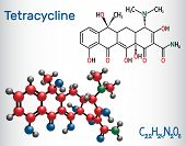 Tetracycline Antibiotic Drug Molecule. Structural Chemical Formula And Molecule Model. Vector Illust poster