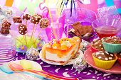 Decoration Of Birthday Party Table With Sweets For Child