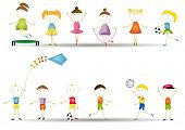 image of animated cartoon  - Playing dancing and jumping happy boys and girls - JPG