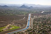 The Arizona Canal Flowing Through Scottsdale, Arizona