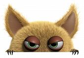 image of hairy  - 3 d cartoon cute furry gremlin monster - JPG