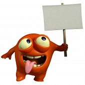 Red Monster Holding Placard